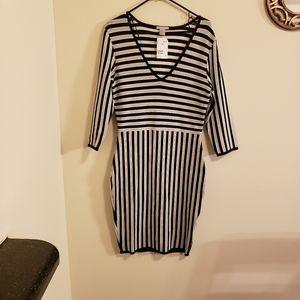 Womens black and white stripe dress